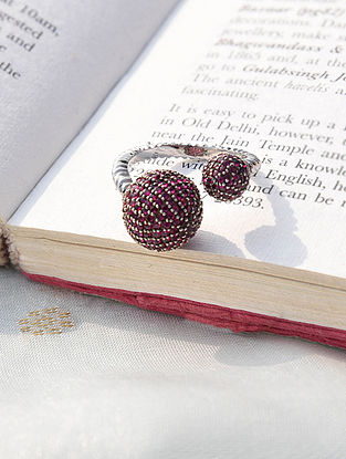 Silver Ruby Adjustable Ring