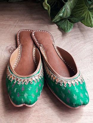 Green Handcrafted Ikat Dupion Silk Leather Mojaris