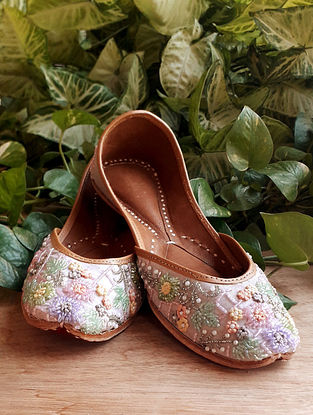 Multicolored Handcrafted Cotton Leather Juttis