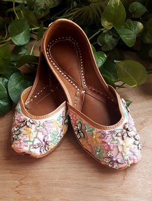 Pink Handcrafted Cotton Leather Juttis