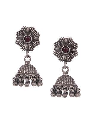 Red Tribal Silver Jhumki Earrings