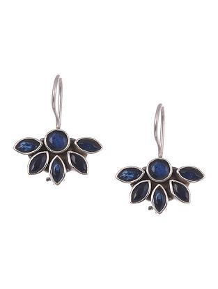 Blue Tribal Silver Earrings
