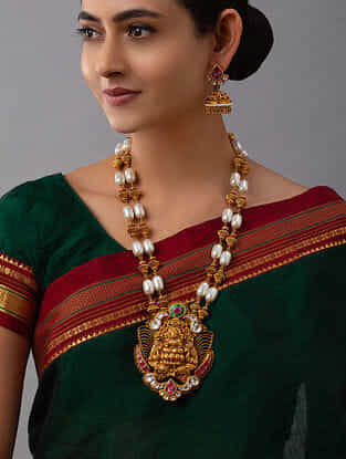 White Gold Tone Temple Work Necklace And Earrings With Pearls