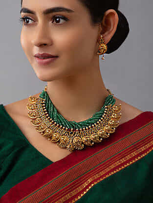 Green Gold Tone Temple Work Necklace With Earrings