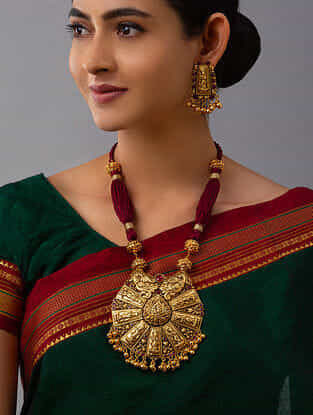 Red Gold Tone Temple Work Necklace With Earrings