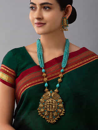 Turquoise Gold Tone Temple Work Necklace With Earrings