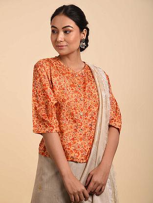 Orange Block Printed Silk Blouse