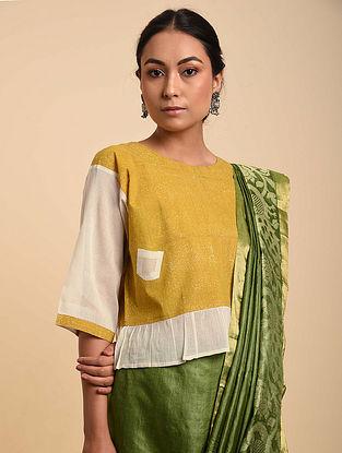 Yellow-White Block Printed Cotton Blouse