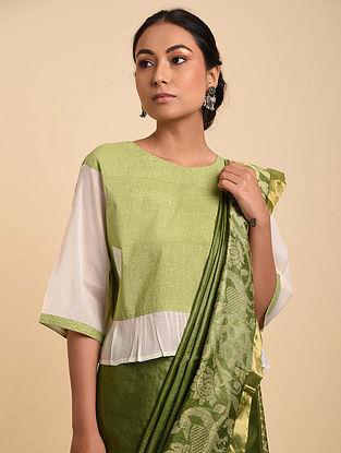 Green-White Cotton Blouse