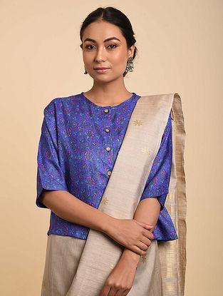 Blue Block Printed Tussar Silk Blouse