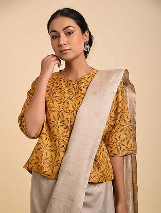 Yellow-Black Block Printed Tussar Silk Blouse