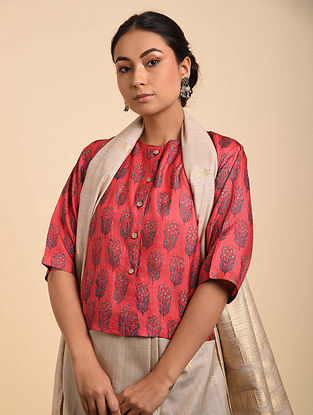 Red-Blue Block Printed Tussar Silk Blouse