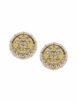 Yellow Gold Tone Enameled Kundan Earrings With Pearls