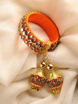 Orange Gold Tone Kundan Adjustable Bracelet