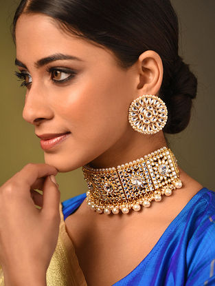 Gold Tone Kundan Choker Necklace And Earrings With Pearls