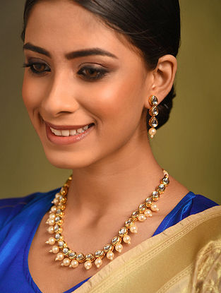 Gold Tone Kundan Necklace And Earrings With Pearls