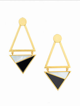 Black White Gold Plated Handcrafted Earrings With Onyx And Mother Of Pearl