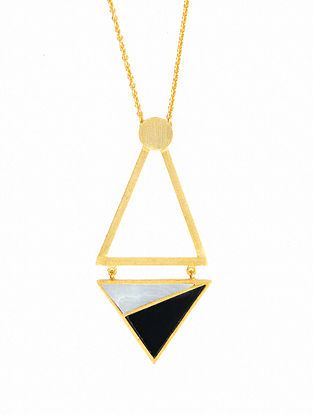 Black White Gold Plated Handcrafted Necklace With Onyx And Mother Of Pearl