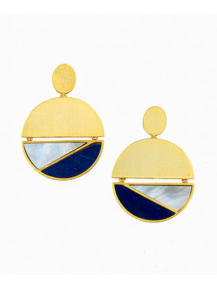 Blue White Gold Plated Handcrafted Earrings With Lapis And Mother Of Pearl