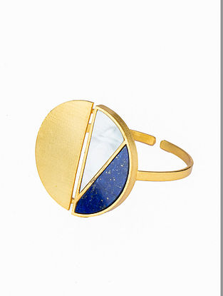 Blue White Gold Plated Handcrafted Adjustable Cuff With Lapis And Mother Of Pearl