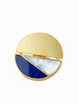 Blue White Gold Plated Handcrafted Adjustable Ring With Lapis And Mother Of Pearl