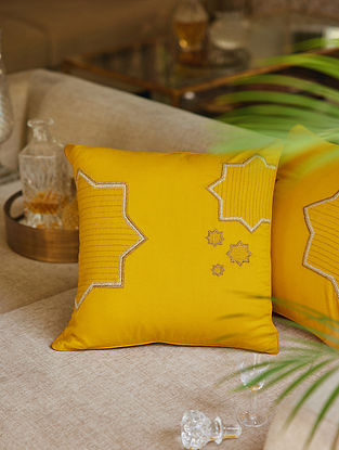 Yellow 100% Rayon Tara Cushion Cover (L-16in,H-16in)