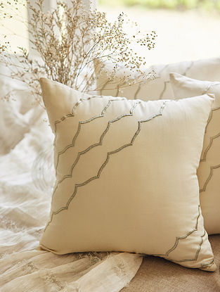 Beige 100% Rayon Jaal Cushion Cover (L-16in,H-16in)