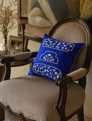 Blue 100% Rayon Palladio Cushion Cover (L-16in,H-16in)