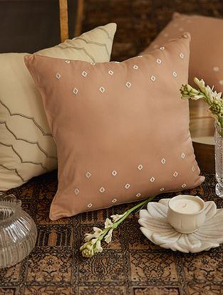 Beige 100% Rayon Bandhini Cushion Cover (L-16in,H-16in)
