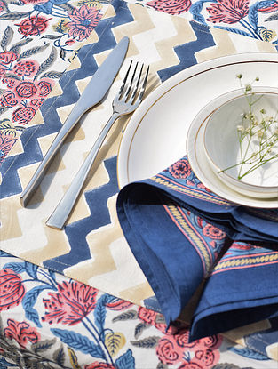 Blue And Beige Chevron Handblock Printed Cotton Canvas Table Mat (L-18in,W-12in)
