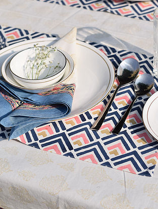 Blue And Pink Handblock Printed Cotton Canvas Table Mat (L-18in,W-12in)