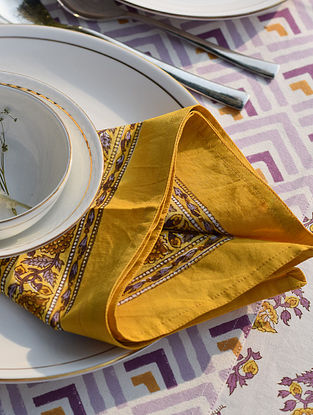 Yellow And Purple Handblock Printed Cotton Napkin Set of 2 (L-18in,W-18in)