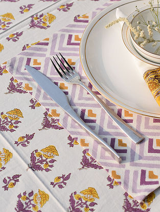 Yellow And Purple Handblock Printed Cotton Canvas Table Mat (L-18in,W-12in)