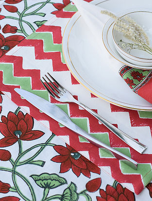 Maroon and Green Handblock Printed Cotton Canvas Table Mat (L-18in,W-12in)