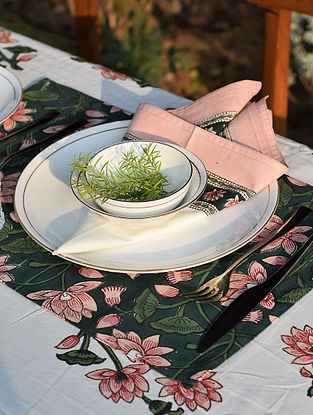 Pink and Green Handblock Printed Cotton Canvas Table Mat (L-18in,W-12in)