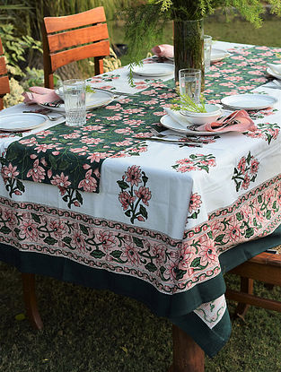 Pink And Green Handblock Printed Cotton Table Cover