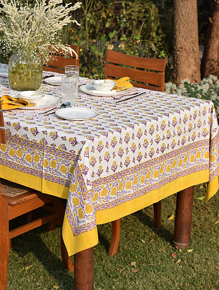 Yellow And Purple Cotton Table Cover