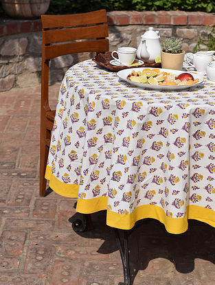 Yellow And Purple Cotton  Round Table Cover