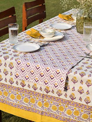 Yellow And Purple Handblock Printed Cotton Canvas Runner