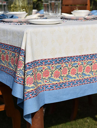 Blue and White Handblock printed Cotton Table Cover