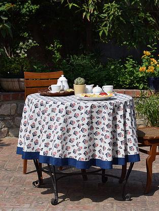 Blue And Pink Cotton  Round Table Cover