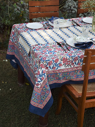 Blue And Pink Handblock printed Cotton Table Cover