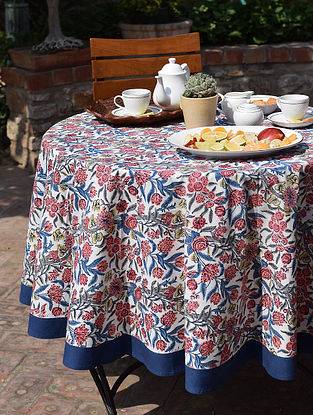 Blue And Pink Handblock printed Round Table Cover