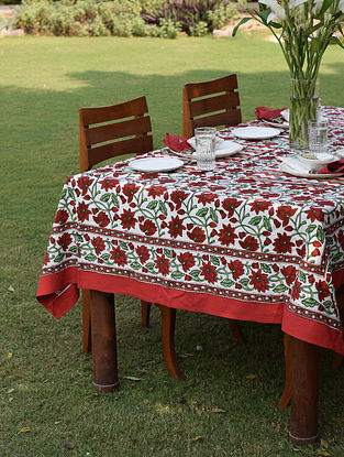 Maroon And White Handblock Printed Cotton Table Cover