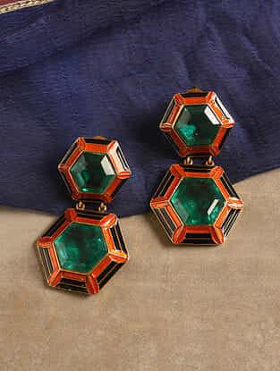Orange Enamel Silver Earrings with Green Quartz