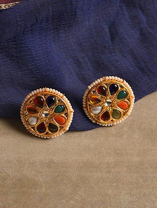 Gold Tone Silver Navrattan Earrings