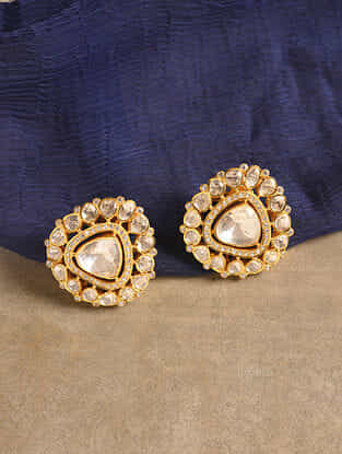Gold Tone Silver Polki Earrings with Zircon