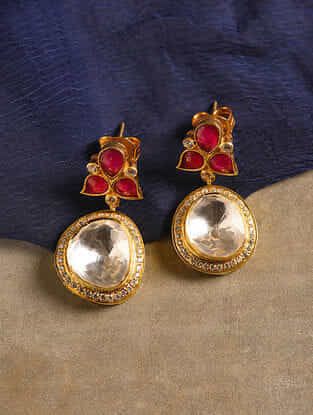 Pink Gold Tone Silver Earrings with Zircon