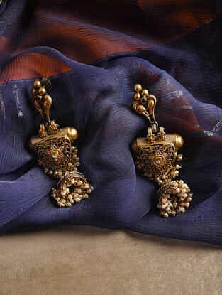 Dual Tone Silver Polki Earrings