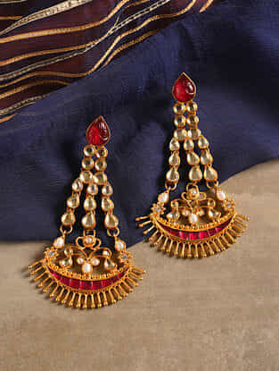 Gold Tone Silver Earrings with Red Onyx